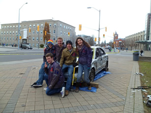 Queen's Engineering students at the Car Smash Fundraiser