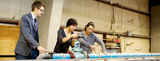 Researchers in the Coastal Engineering Laboratory